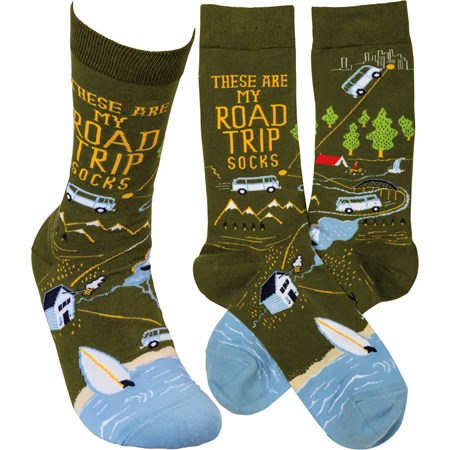 Socks - These Are My Road Trip Socks - One Size Fits Most - Cotton, Nylon, Spandex