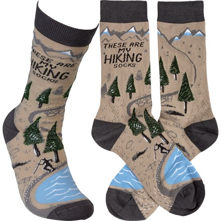 Socks - These Are My Hiking Socks - One Size Fits Most - Cotton, Nylon, Spandex