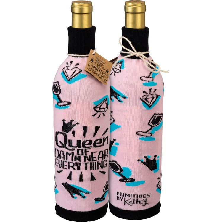 "Bottle Sock - Queen Of Near Everything - 3.50"" x 11.25"", Fits 750mL to 1.5L bottles - Cotton, Nylon, Spandex"