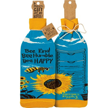 "Bottle Sock - Bee Kind - 3.50"" x 11.25"", Fits 750mL to 1.5L bottles - Cotton, Nylon, Spandex"