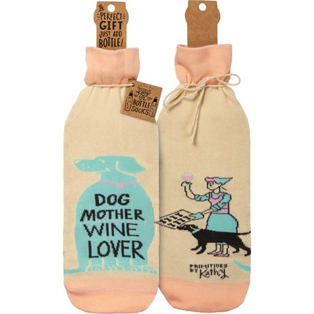 "Bottle Sock - Dog Mother Wine Lover - 3.50"" x 11.25"", Fits 750mL to 1.5L bottles - Cotton, Nylon, Spandex"