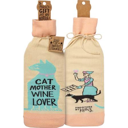 "Bottle Sock - Cat Mother Wine Lover - 3.50"" x 11.25"", Fits 750mL to 1.5L bottles - Cotton, Nylon, Spandex"