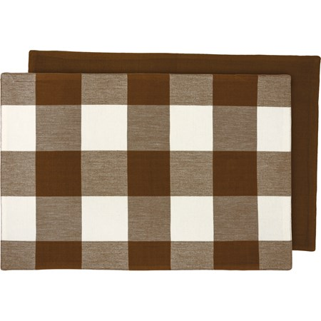 "Placemat - Brown Buff Check - 19"" x 13"" - Cotton"