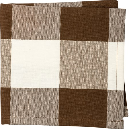 "Napkin - Brown Buff Check - 15"" x 15"" - Cotton"