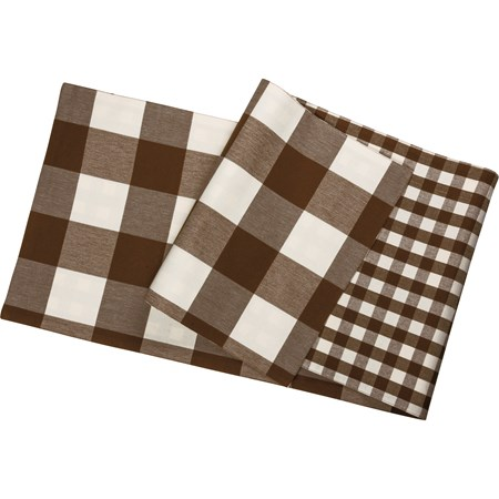 "Runner - Brown Buff Check - 56"" x 15"" - Cotton"