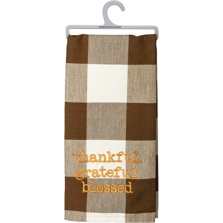 "Dish Towel - Thankful Grateful Blessed - 20"" x 28"" - Cotton"