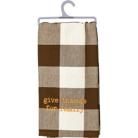 "Dish Towel - Give Thanks For Family - 20"" x 28"" - Cotton"
