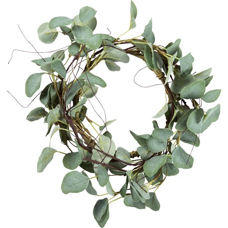 "Candle Ring - Eucalyptus - 14"" Outside Diameter - Plastic, Fabric, Wire"