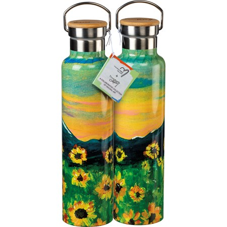 "Insulated Bottle - Make It Happen - 25 oz., 2.75"" Diameter x 11.25"" - Stainless Steel, Bamboo"