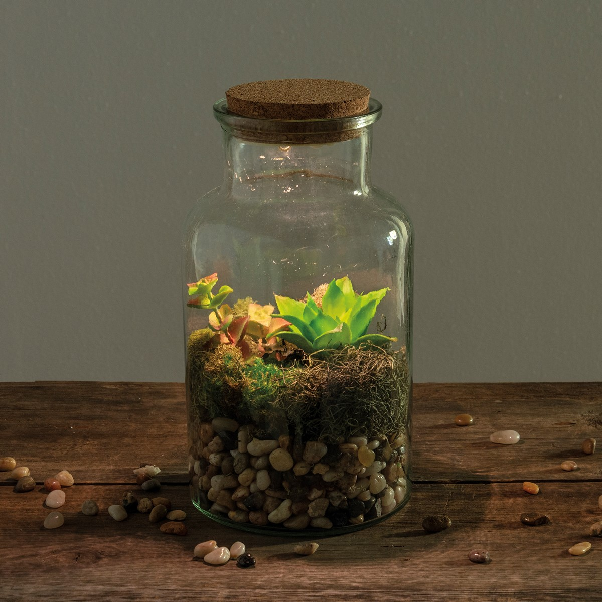 "Jar Light - Sm Bottle - 5.75"" Diameter x 10.50"" - Glass, Lights, Cork, Plastic"