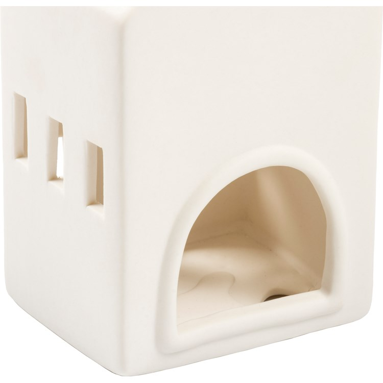 "Candle Holder Set - Houses - 3.25"" x 5.75"" x 2.75"", 2.75"" x 5.50"" x 2.50"", 2.75"" x 5"" x 2"" - Stoneware"