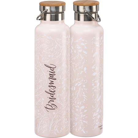 "Insulated Bottle - Bridesmaid - 25 oz., 2.75"" Diameter x 11.25"" - Stainless Steel, Bamboo"