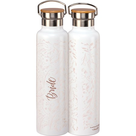 "Insulated Bottle - Bride - 25 oz., 2.75"" Diameter x 11.25"" - Stainless Steel, Bamboo"
