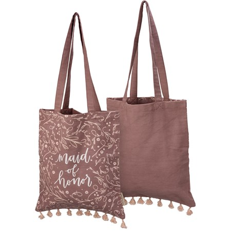 "Tote - Maid Of Honor - 14"" x 15.50"", 12"" Handle Drop - Cotton"