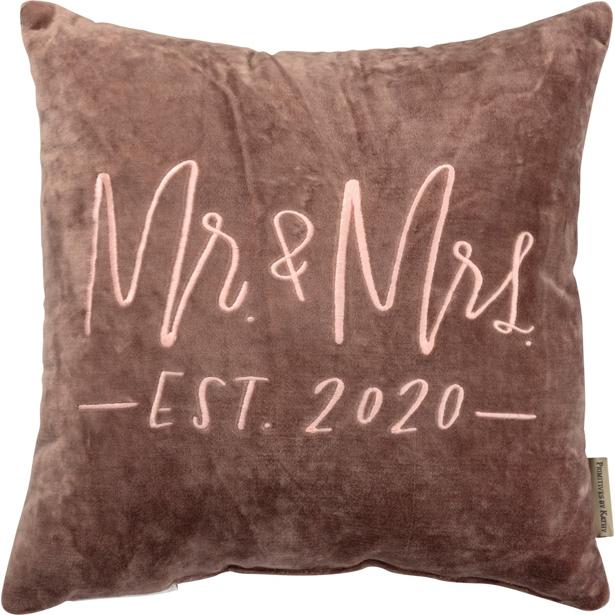 "Pillow - Mr. & Mrs. Est. 2020 - 15"" x 15"" - Velvet"