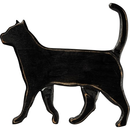 "Hanging Decor - Black Cat - 10.25"" x 10.75"" x 0.50"" - Wood"