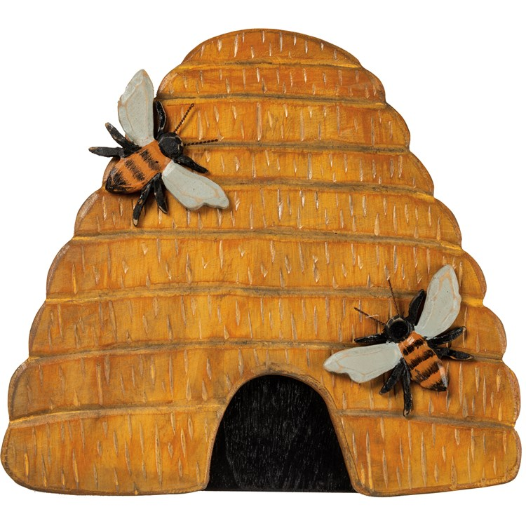 "Hanging Decor - Beehive - 11.75"" x 10.50"" x 0.50"" - Wood, Wire"