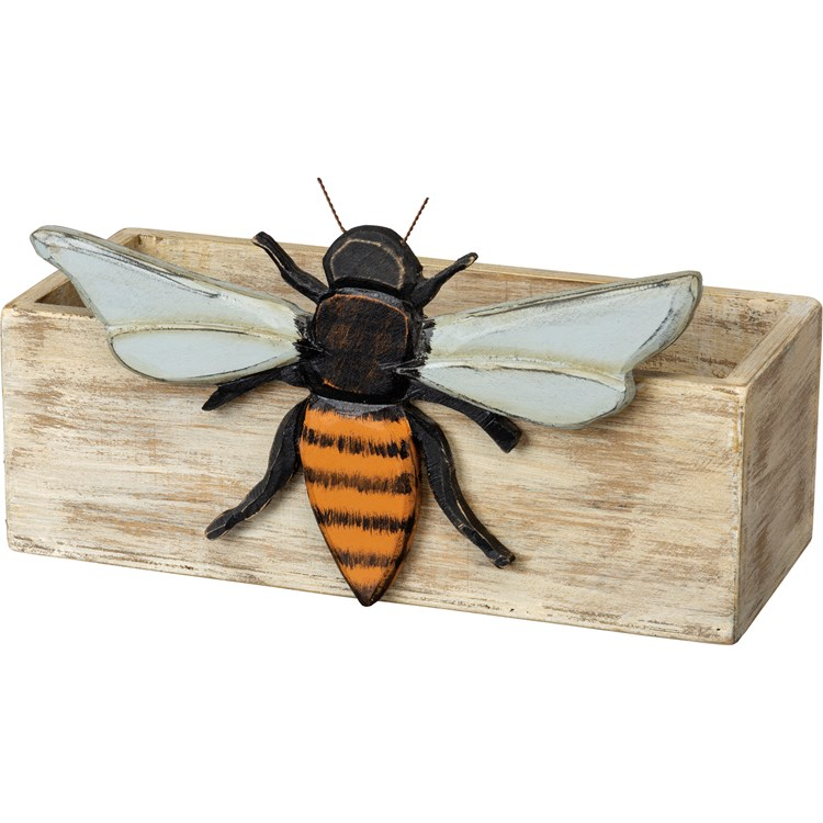 "Bin - Bee - 12"" x 6.75"" x 5"" - Wood, Wire"