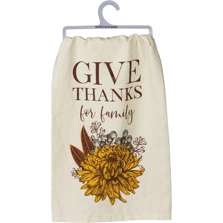 "Dish Towel - Give Thanks For Family - 28"" x 28"" - Cotton"