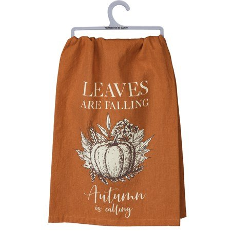 "Dish Towel - Leaves Are Falling Autumn Is Calling - 28"" x 28"" - Cotton"