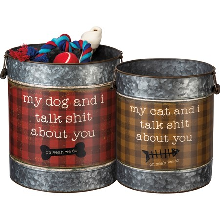 "Bucket Set - About You - Dog And Cat - 11.50"" Diameter x 13"", 9.75"" Diameter x 11.75"" - Metal, Paper, Wood"