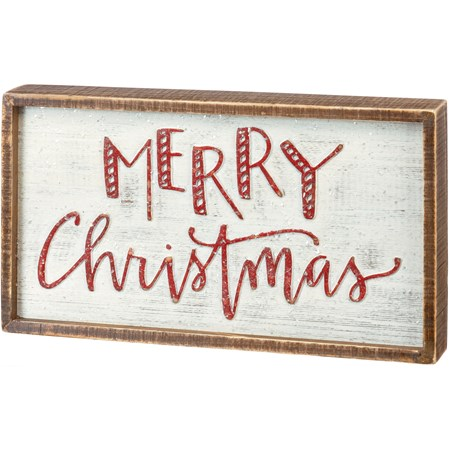 "Inset Box Sign - Merry Christmas - 15"" x 8.50"" x 1.75"" - Wood, Mica"