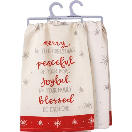 "Dish Towel - Merry Peaceful Joyful Blessed Be - 28"" x 28"" - Cotton"