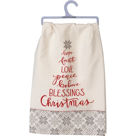"Dish Towel - Blessings Christmas - 28"" x 28"" - Cotton"