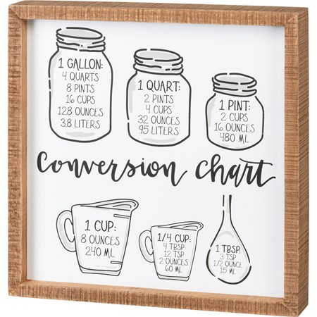 "Inset Box Sign - Conversion Chart - 12"" x 12"" x 1.75"" - Wood"