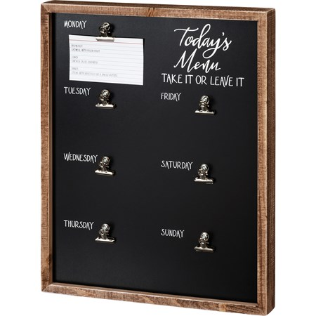 "Inset Box Sign - Today's Menu Take It Or Leave It - 15"" x 19"" x 1.75"" - Wood, Metal"