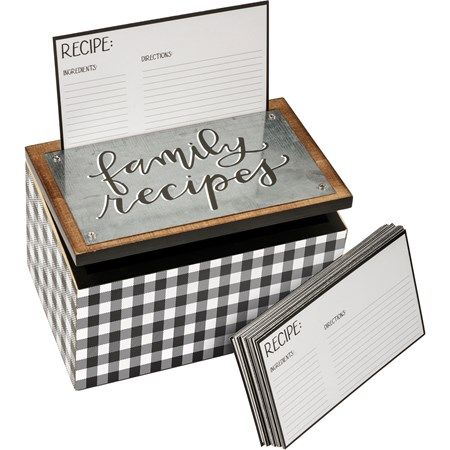 "Recipe Box - Family Recipes - 6.25"" x 4"" x 4"" - Wood, Metal, Paper"