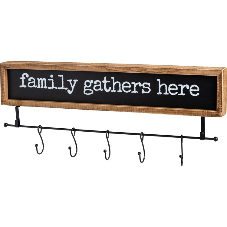 "Hook Board - Family Gathers Here - 24.50"" x 4.50"" x 1.75"" - Wood, Metal"