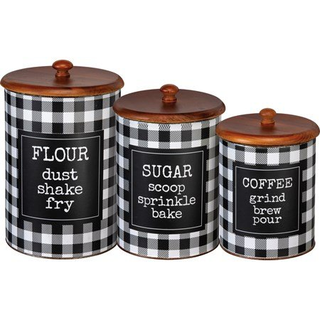 "Canister Set - Flour Sugar Coffee - 6.75"" Diameter x 11.50"", 6"" Diameter x 9.75"", 5.25"" Diameter x 8.25"" - Metal, Paper, Wood"