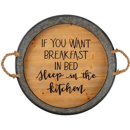 "Tray - Breakfast In Bed Sleep In The Kitchen - 19.50"" Diameter x 3"" - Metal, Wood, Rope"