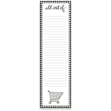 "List Pad - All Out Of - 2.75"" x 9.50"" x 0.25"" - Paper, Magnet"