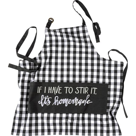 "Apron - If I Have To Stir It It's Homemade - 27.50"" x 28"" - Cotton, Polyester, Metal"