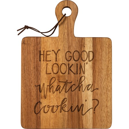 "Cutting Board - Hey Good Lookin' - 8.50"" x 12"" x 0.50"" - Wood, Leather"