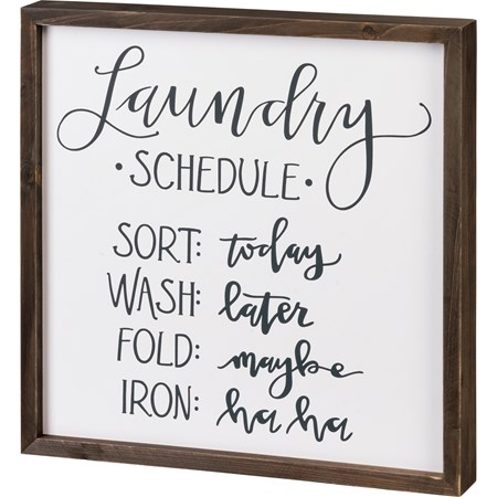 "Inset Box Sign - Laundry Schedule - 15"" x 15"" x 1.75"" - Wood"