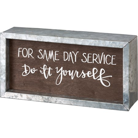 "Inset Box Sign - Same Day Service Do It Yourself - 8"" x 4"" x 1.75"" - Wood, Metal"