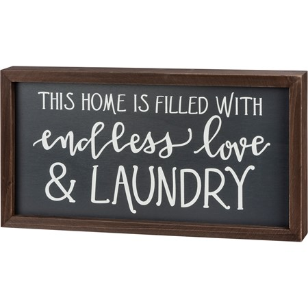 "Inset Box Sign - Endless Love & Laundry - 15"" x 8"" x 1.75"" - Wood"