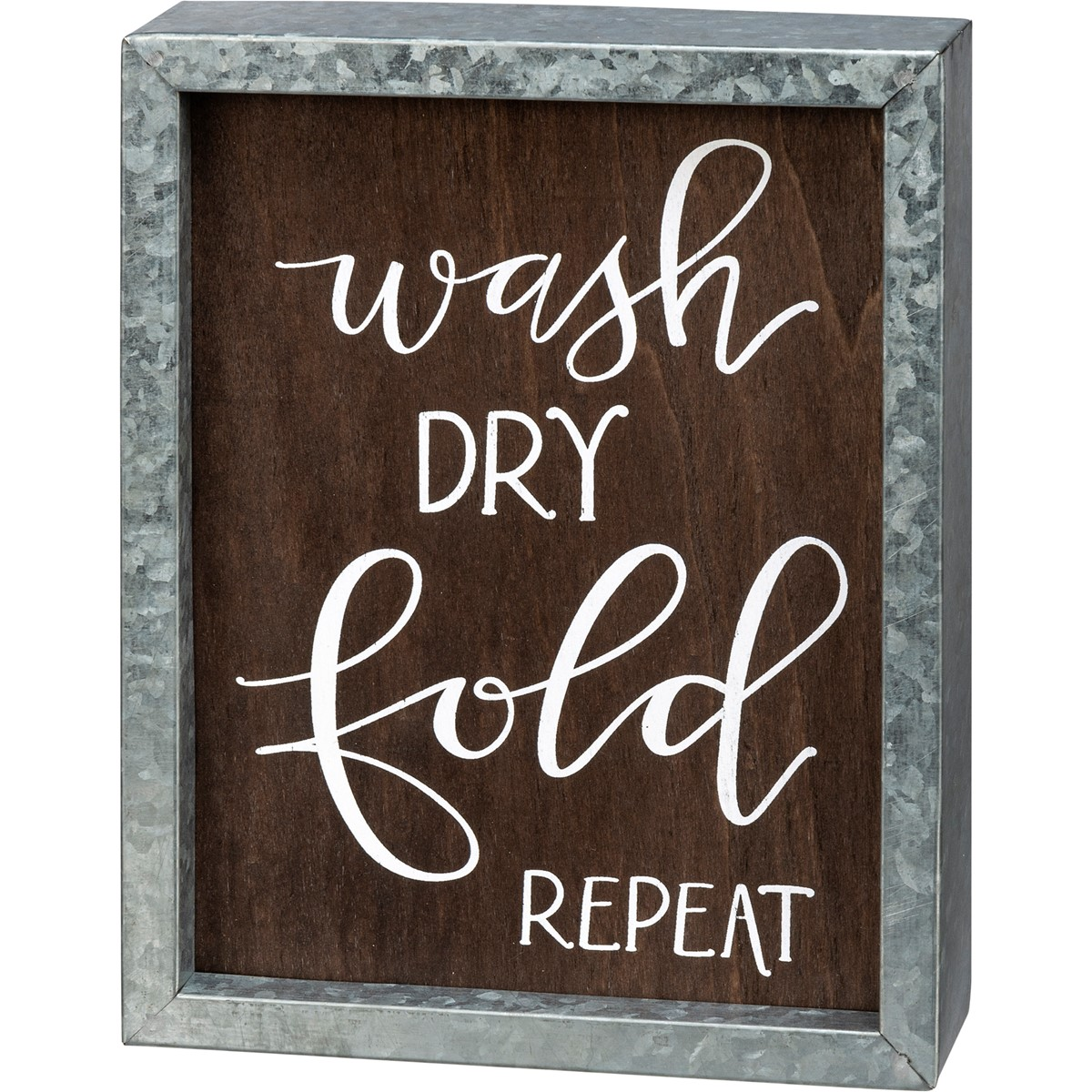 "Inset Box Sign - Wash Dry Fold Repeat - 7"" x 9"" x 1.75"" - Wood, Metal"