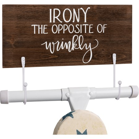 "Hook Board - Irony The Opposite Of Wrinkly - 13"" x 6"" x 0.50"" - Wood, Metal"