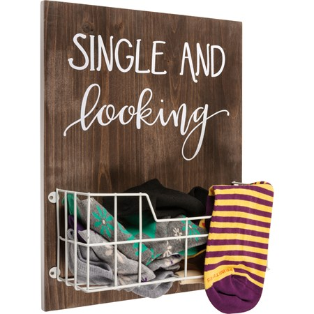 "Wall Decor - Single & Looking - 10.25"" x 13"" x 3.75"" - Wood, Wire"