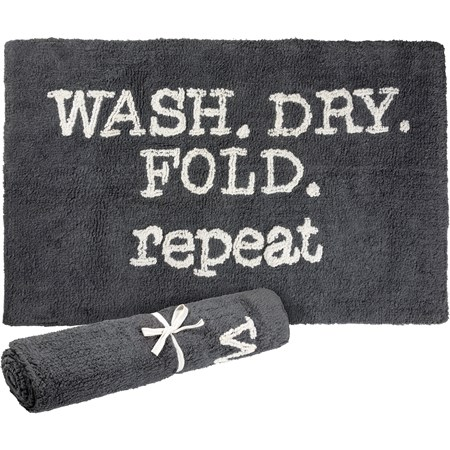 "Rug - Wash Dry Fold Repeat - 32"" x 20"" - Cotton"