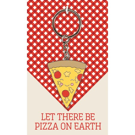 "Keychain - Let There Be Pizza On Earth - 1.50"" x 2"", Card: 3"" x 5"" - Metal, Enamel, Paper"
