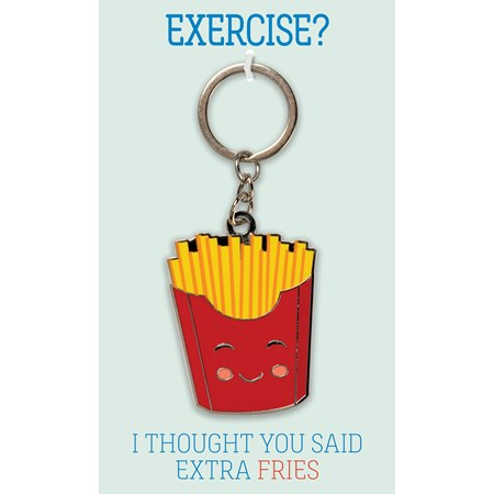 "Keychain - Exercise I Thought You Said Extra Fries - 1.50"" x 2"", Card: 3"" x 5"" - Metal, Enamel, Paper"
