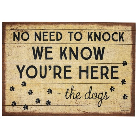 "Rug - No Need To Knock The Dogs - 34"" x 20"" - Polyester, PVC"