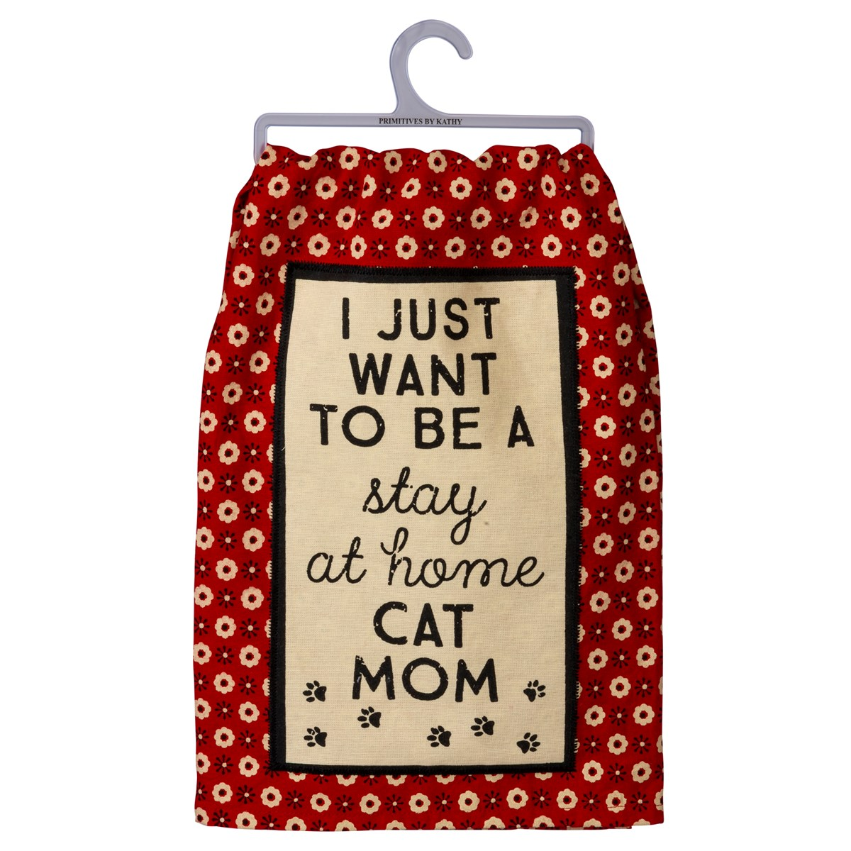 "Dish Towel - I Want To Be A Stay At Home Cat Mom - 28"" x 28"" - Cotton"