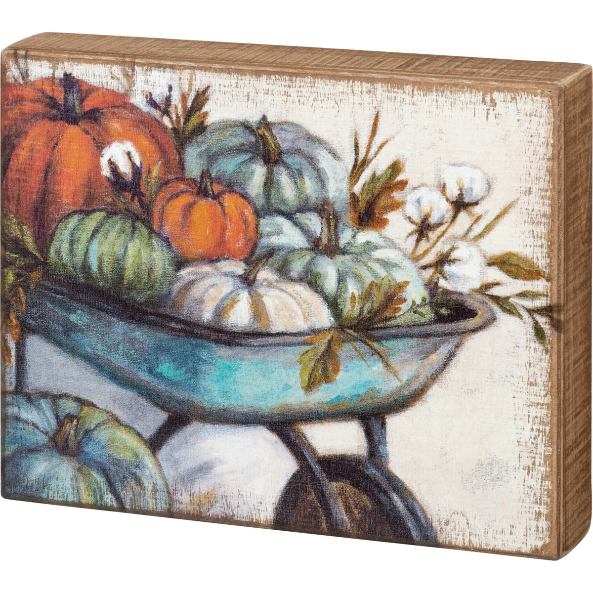 "Box Sign - Wheelbarrow Pumpkins - 10"" x 8"" x 1.75"" - Wood"