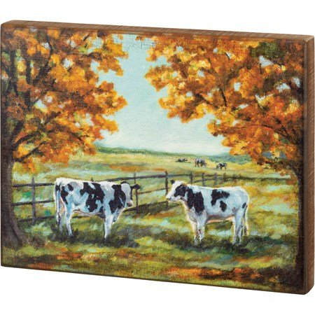 "Box Sign - Cows - 15"" x 12"" x 1.75"" - Wood"